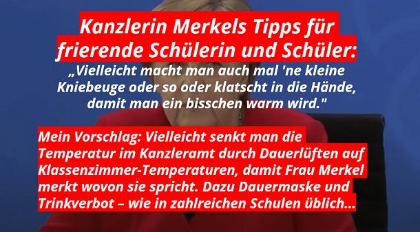 Vorschlag von Frau Merkel: Kniebeugen und Händeklatschen gegen frierende Kinder