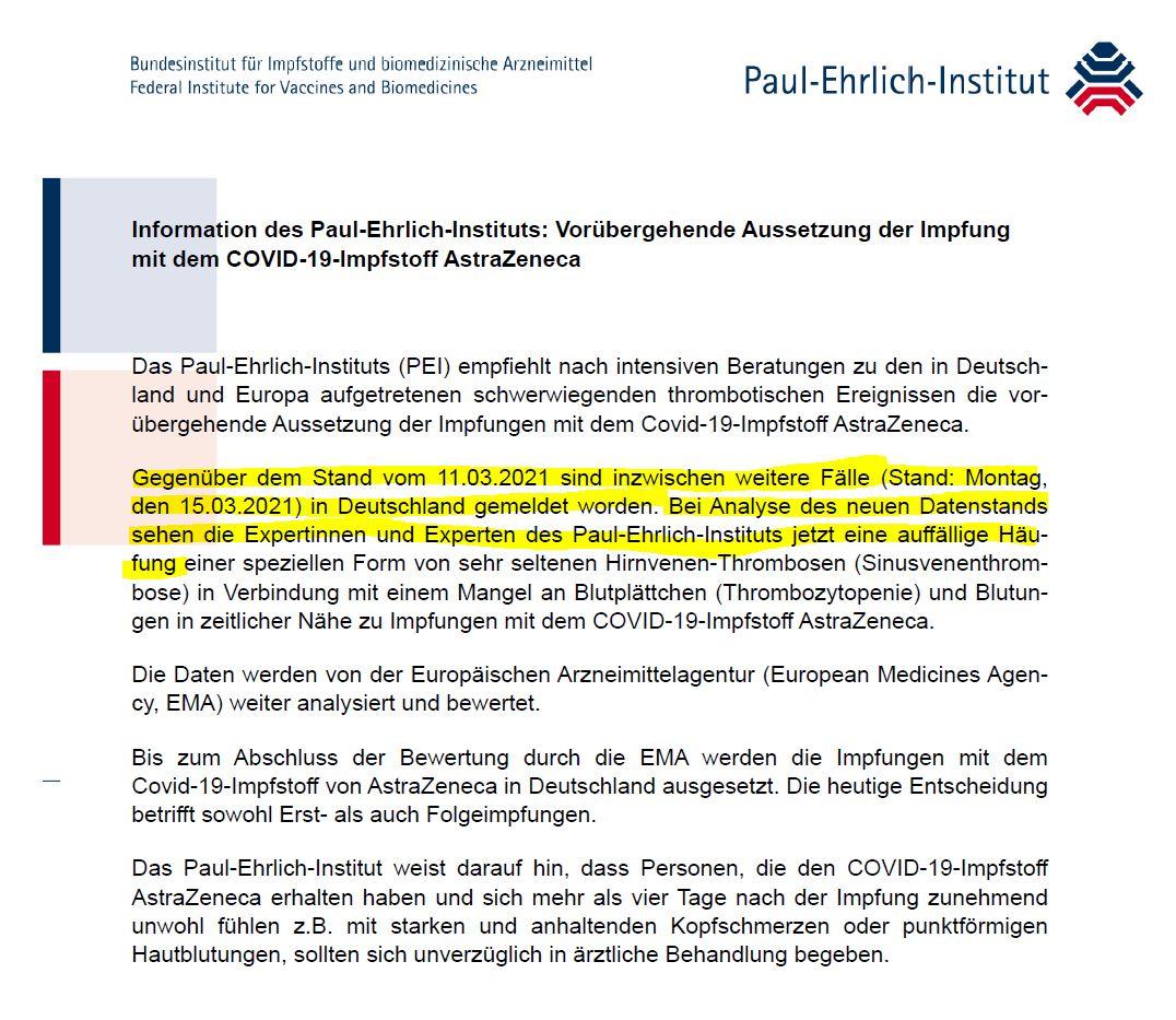 PEI Information zur Aussetzung der IMpfung mit dem Covid 19 IMpfstoff von AstraZeneca