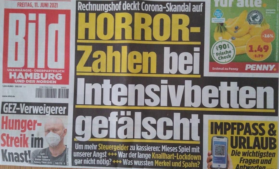 BILD Zeitung am 11.6.21 Zahlen bei Intensivbetten gefälscht